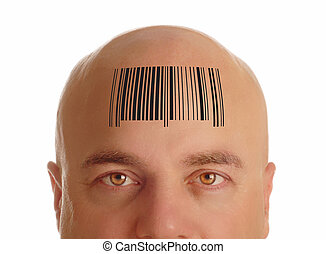 man with bald head stamped with barcode - identity