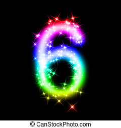 glitter number 6 - 3d rendered illustration of a rainbow...