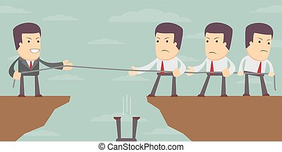 Abstract Businessmen Tug of war on a cliff. - Abstract...