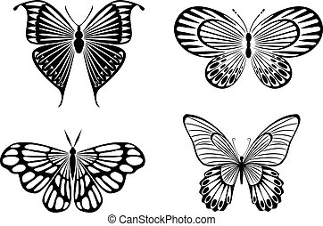 Butterfly tattoos - Isolated tattoos of butterfly on white...