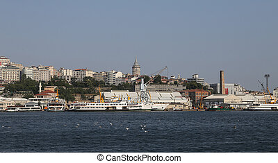 Istanbul City in Turkey - Buildings in Beyoglu, Golden Horn...