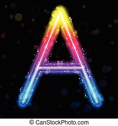 Alphabet Rainbow Lights Glitter with Sparkles - Vector -...