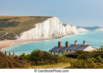 Seven Sisters Chalk cliffs from Seaford Head - The Seven...