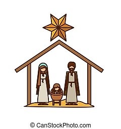 Isolated holy family and nativity design