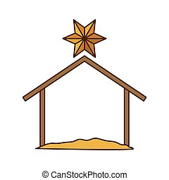 Isolated holy house design - Holy house icon. Nativity merry...