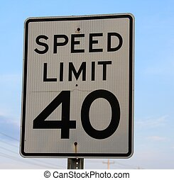 Speed Limit Sign - A close view on a speed limit sign.