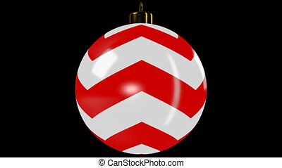 Red Spinning Christmas Ball With Stripes - Spinning...