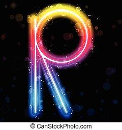 Alphabet Rainbow Lights Glitter with Sparkles - Vector -...