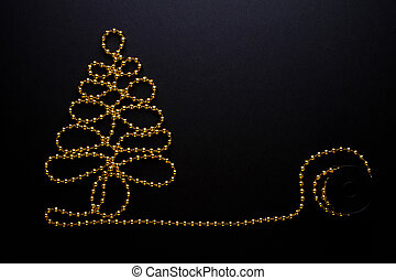 Christmas tree gold beads - the Golden beads are laid in the...
