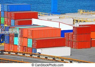 Cargo container in port - Port cargo container in port of...