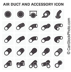 Air duct pipe - Vector icon of air duct pipe fitting for air...