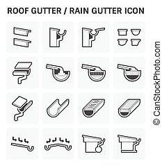 Roof gutter icon - Roof gutter or rain gutter for drainage...