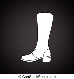 Autumn woman boot icon. Black background with white. Vector...