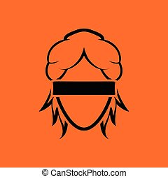 Femida head icon. Orange background with black. Vector...