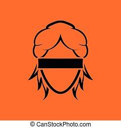 Femida head icon. Orange background with black. Vector...