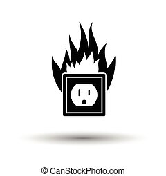 Electric outlet fire icon. White background with shadow...