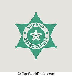 Sheriff badge icon. Gray background with green. Vector...