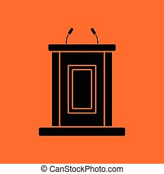 Witness stand icon. Orange background with black. Vector...