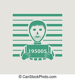 Prisoner in front of wall with scale icon. Gray background...