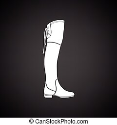 Hessian boots icon. Black background with white. Vector...