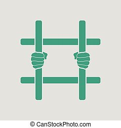 Hands holding prison bars icon. Gray background with green....