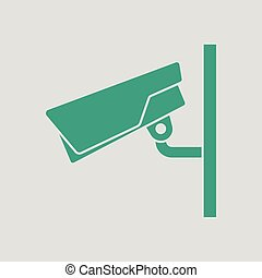 Security camera icon. Gray background with green. Vector...