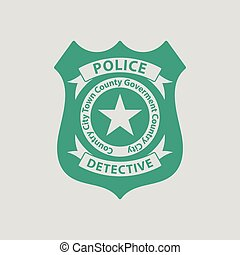 Police badge icon. Gray background with green. Vector...