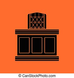 Judge table icon. Orange background with black. Vector...