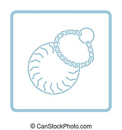 Dogs strict collar icon. Blue frame design. Vector...
