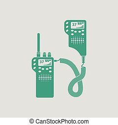 Police radio icon. Gray background with green. Vector...