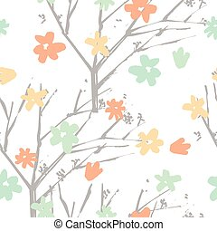 Vector floral pattern in hand drawn style with flowers and branc