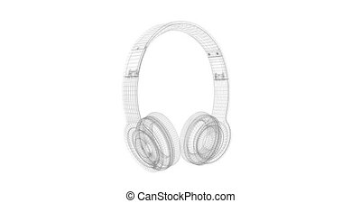 Gray Headphones wire frame isolated on a white background 3D render rotating seamless loop animation