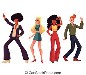 People in 1970s style clothes dancing disco, cartoon style...