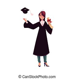 Female student in traditional gown throwing cap and holding diploma