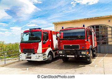 Fire engine in old city Dubrovnik in a beautiful summer day,...