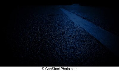 Moving Over Road Markings In Moonlight - Passing slowly over...