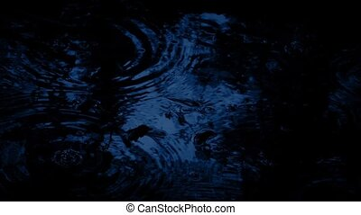 Raindrops On Forest Pool In The Dark - Pool surface with...