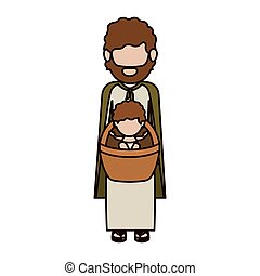 Isolated holy joseph and baby jesus design - Holy joseph and...