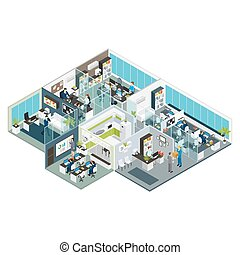 Set Room Office Isometric - Set room office isometric with...