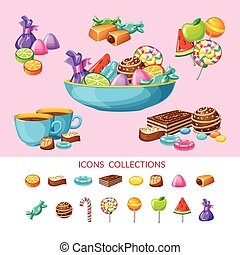 Sweet Candy Icon Set Composition - Sweet candy icon set...