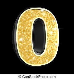 golden number - 0 - 3d rendered illustration of a golden...