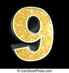 golden number - 9 - 3d rendered illustration of a golden...
