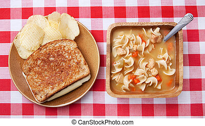 soup and sandwich - one grilled cheese sandwich with plain...