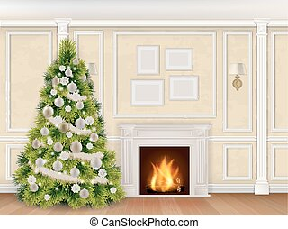 luxury christmas interior with fireplace - Luxury interior...