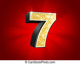 golden number - 7 - 3d rendered illustration of a golden...