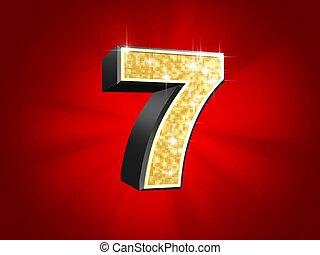 golden number - 7 - 3d rendered illustration of a golden...