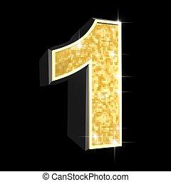 golden number - 1 - 3d rendered illustration of a golden...