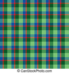 Green, Blue and Red Plaid Seamless Background