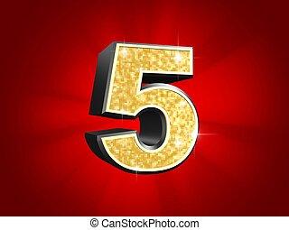 golden number - 5 - 3d rendered illustration of a golden...