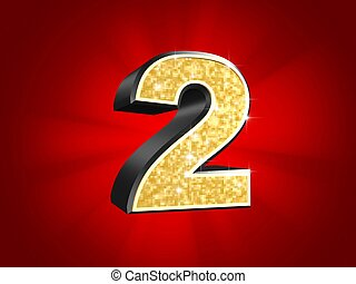 golden number - 2 - 3d rendered illustration of a golden...